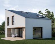 Nowoczesny minimalistyczny dom jednorodzinny ze skośnym dachem | Lusówko