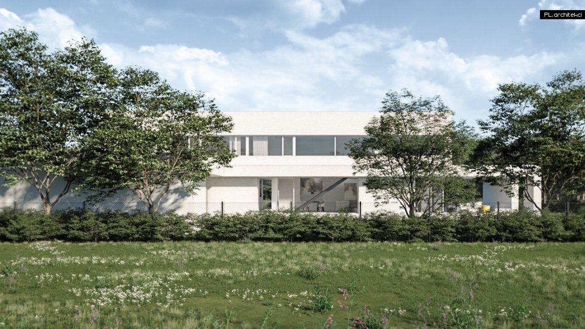 dom z płaskim dachem i dużym przeszkleniem
