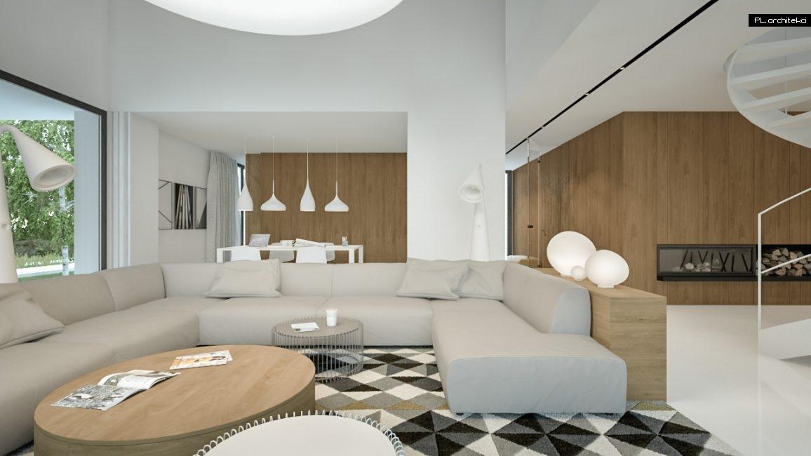Nowoczesne wnętrze domu jednorodzinnego: salon | Lusówko