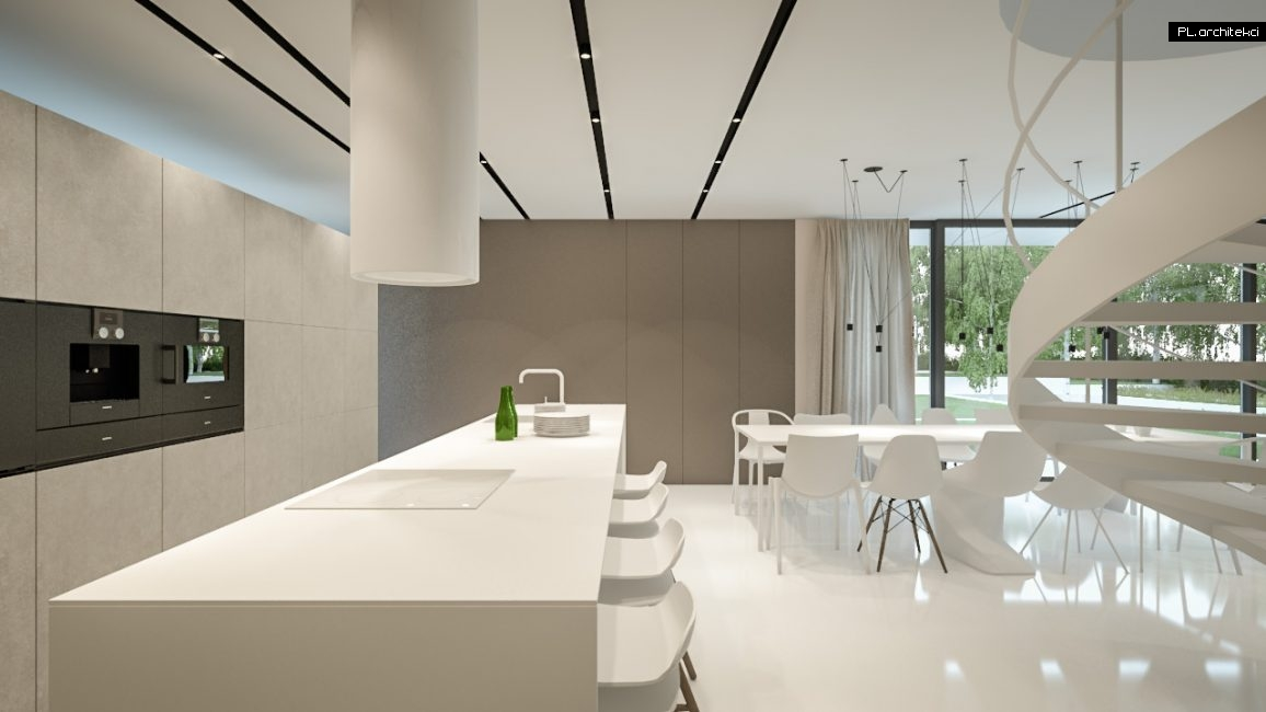 Nowoczesne wnętrze domu jednorodzinnego: kuchnia i jadalnia | Lusówko