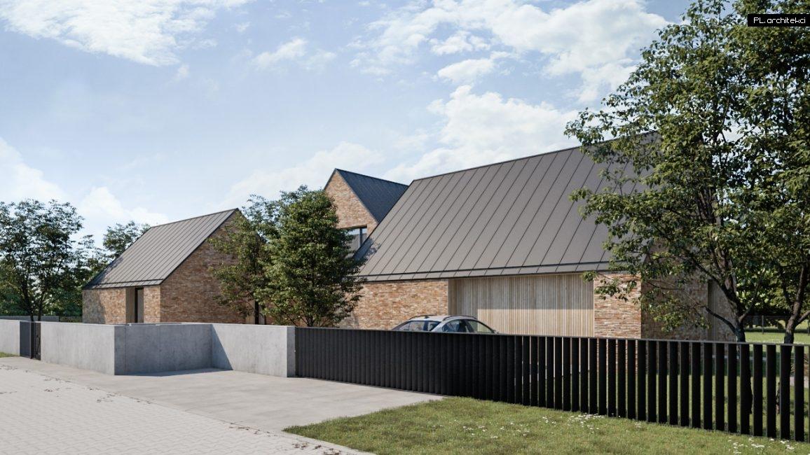 Dom jednorodzinny w stylu nowoczesnej stodoły z cegły rozbiórkowej