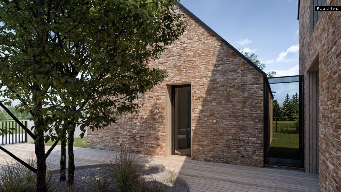 szklany łącznik nowoczesnej stodoły