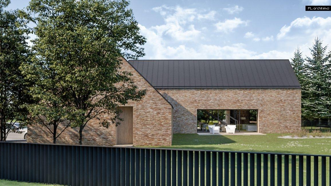 Dom z cegły w stylu nowoczesnej stodoły z dachem z blachy projektu PLarchitekci i PL.architekci