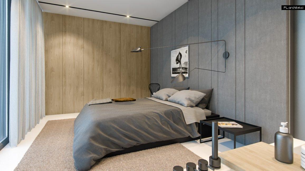 Nowoczesne wnętrze domu jednorodzinnego: sypialnia główna | Lusówko