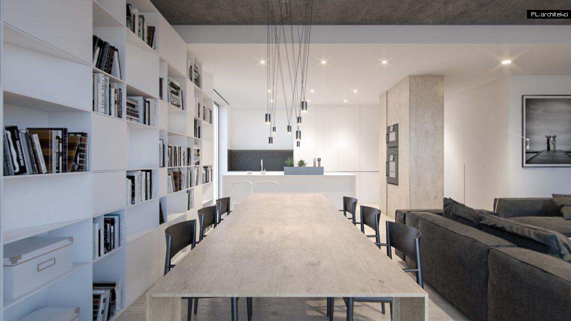 Nowoczesne wnętrze apartamentu: salon z jadalnią | Poznań