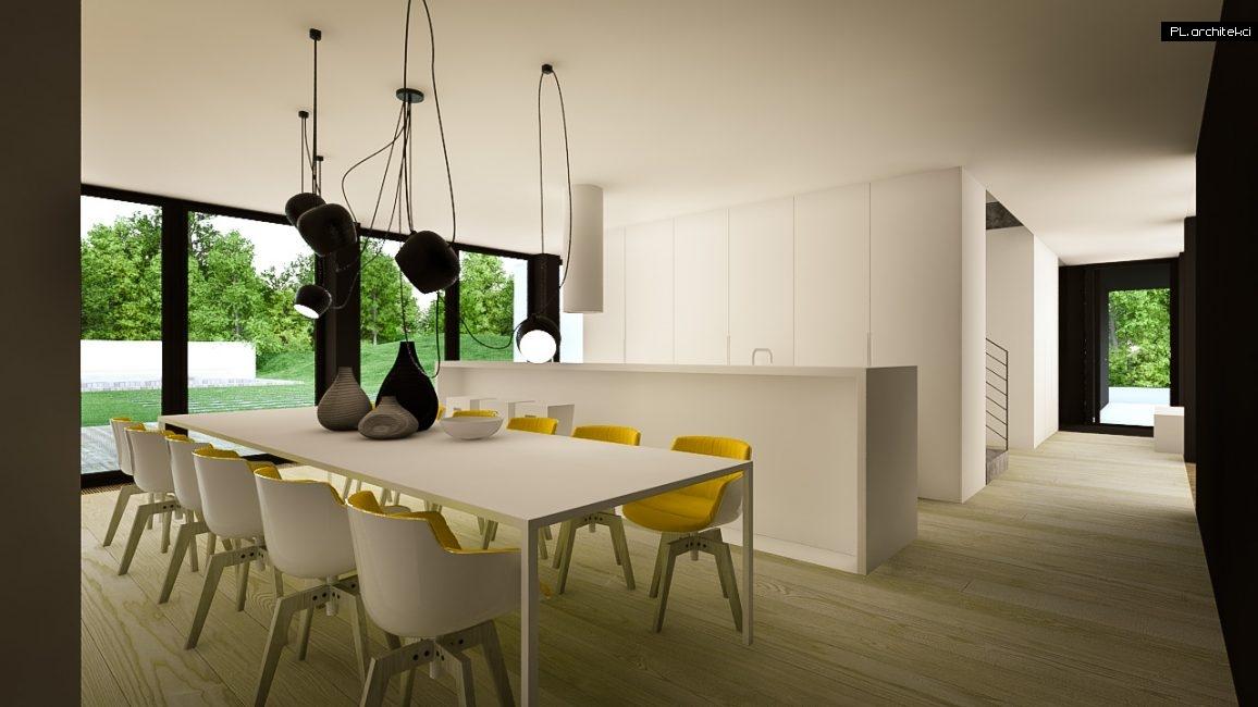 Nowoczesne wnętrze domu jednorodzinnego: jadalnia i kuchnia | Puszczykowo