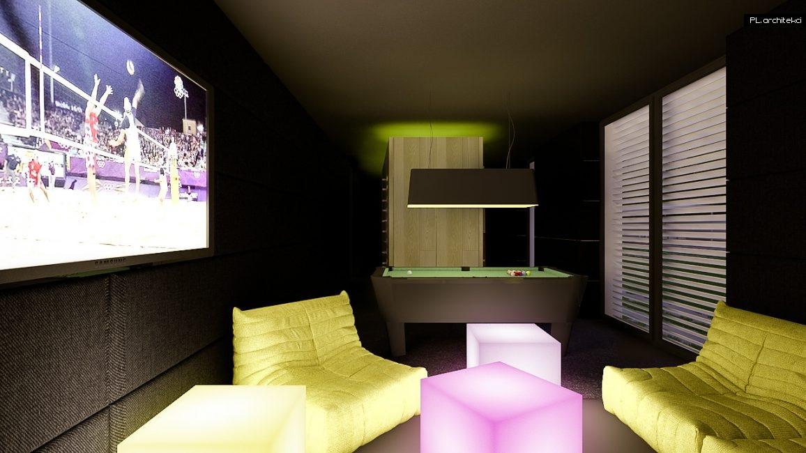 Nowoczesne wnętrze domu jednorodzinnego: pokój rekreacyjny | Puszczykowo