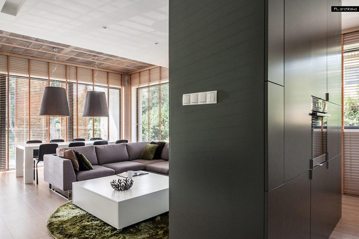 Nowoczesne wnętrze apartamentu: salon z jadalnią | Suchy Las